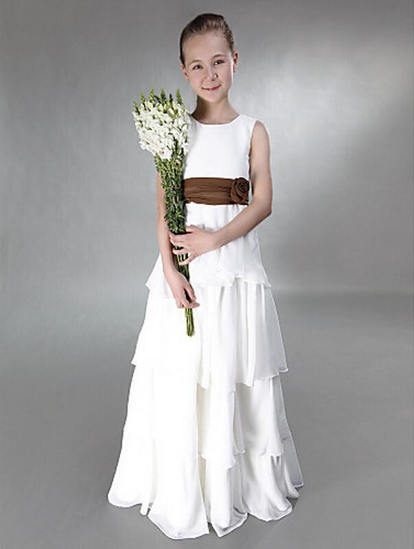 Princess A-Line Jewel Tiers Długość podłogi z Sash Chiffon Junior Druhna Dress na wesele