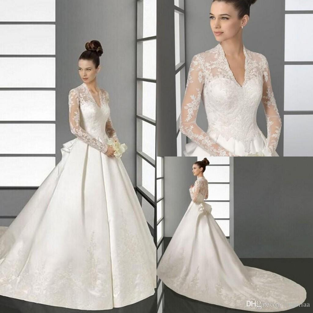 Discount Designer Wedding Gowns: Discount Luxury Full Lace Applique Wedding Dress With Long