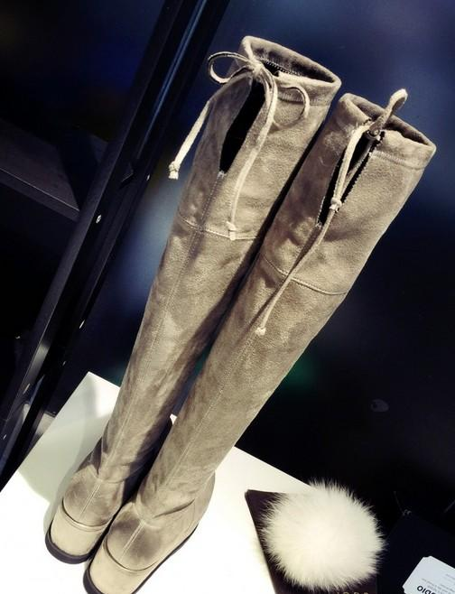 alta qualidade! B091 34 Plataforma de estiramento de couro genuíno coxa alta botas pretas cinza cunha designer de luxo inspirado