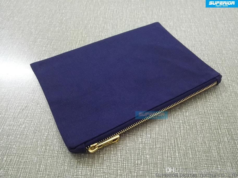 Beautiful And Durable Navy 12oz Cotton Canvas Cosmetic Bag Matching Navy Metallic Gold Zipper And Navy Lining 7x10 Inch