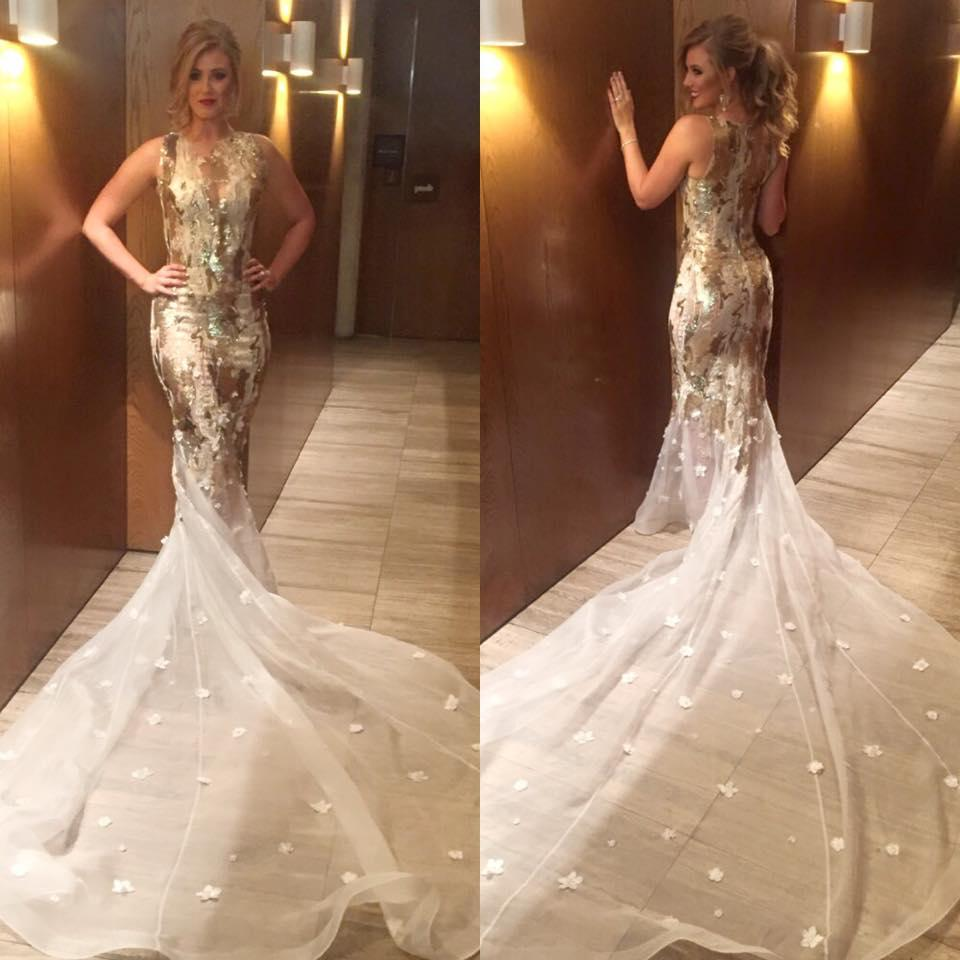 Simple Elegant 2015 Women Summer Wedding Dresses Flowing: Elegant Lace Mermaid White Gold Wedding Dresses New