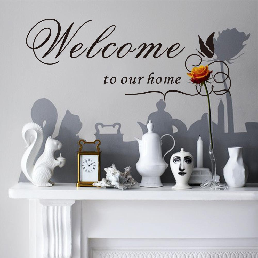 Bienvenue à notre maison Mur Sticker Sticker Sticker Anglais Mots Papillon Fleur Vigne Art Mural Décor Mural Autocollant Salon Wall Sticker Affiche