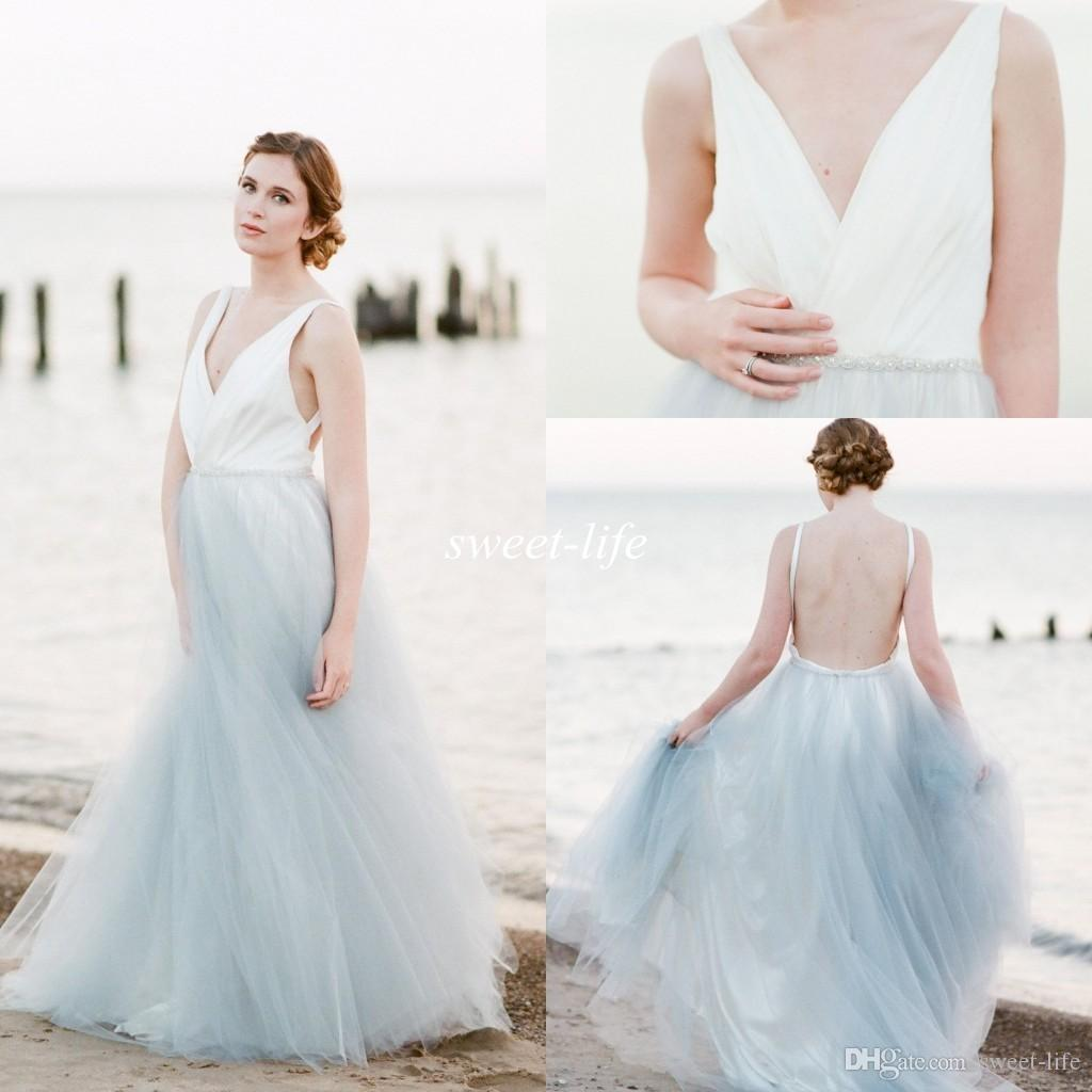 Discount 2016 Summer Beach Wedding Dresses Backless Blue And White Tulle Crystal Belt Deep V Neck Cheap Plus Size Sexy Bohemia Maternity Bridal Gowns: Plus Size White Beach Wedding Dress At Websimilar.org
