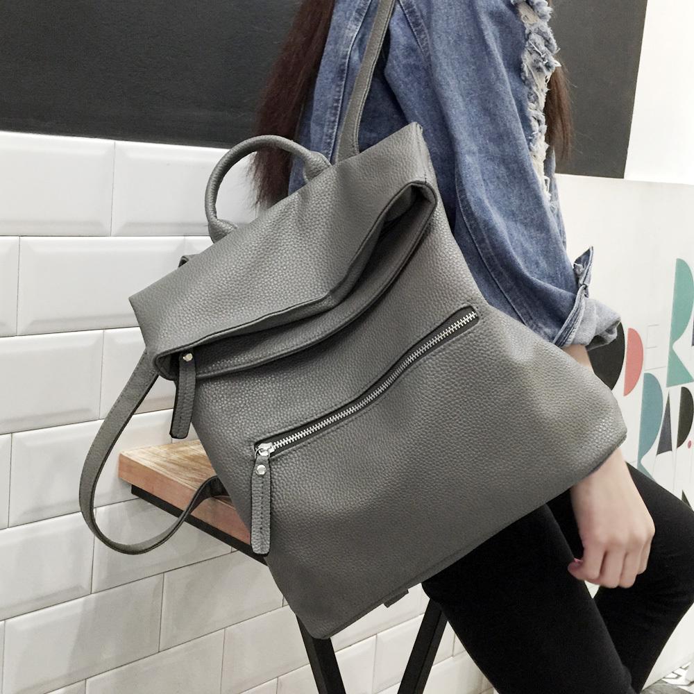 98b93f6ffab7 2016 Leather Backpacks Women Schoolbags For Teenagers Girls Black .