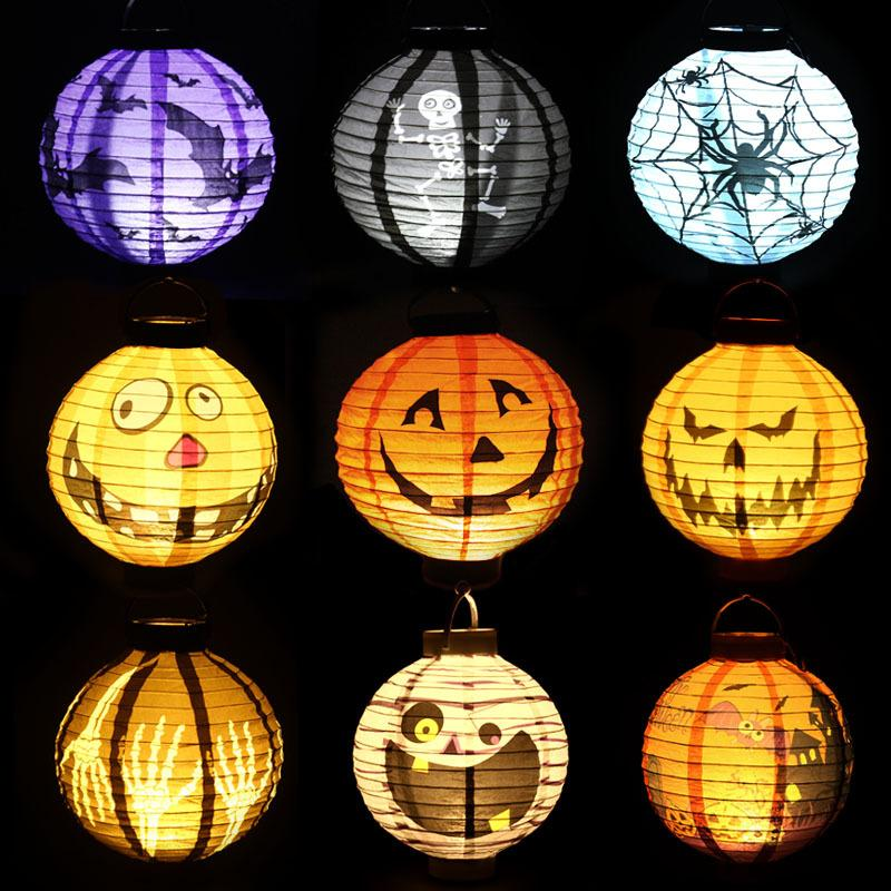 led halloween pumpkin lights lamp 20cm paper lantern 4 design spiders bats skull pattern decoration led battery bulbs ballons lamps for kids from china - Halloween Pumpkin Lights