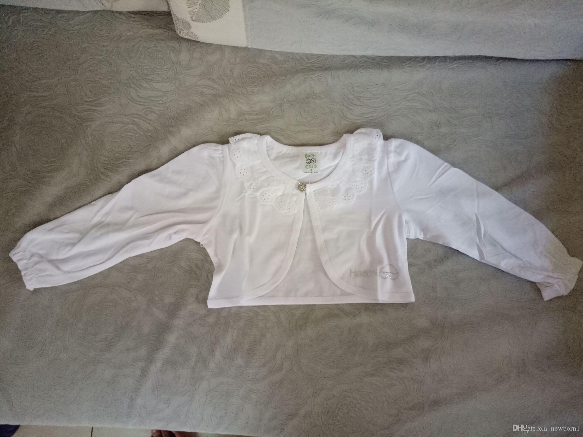 Bebek Kız Ince Ceket Çocuk Uzun Kollu Hırka Pamuk Çocuklar Parti Pelerin Dantel Çiçek Kız Kısa Ceket