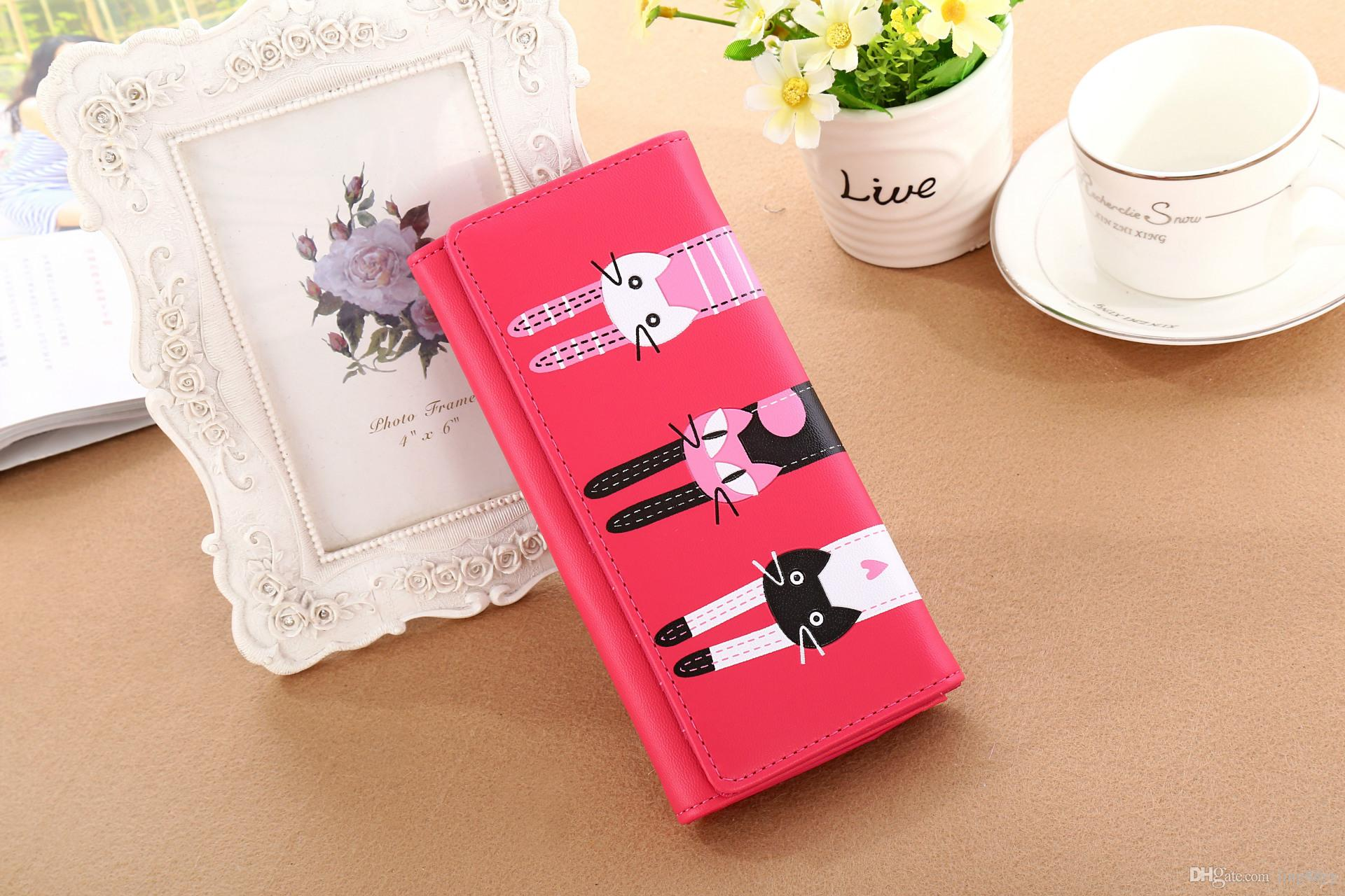 Wholesale Cheap Long Wallets For Students Women Cute Cartoon Wallet Student Zipper Kitty Wallet Lovely Ladys Purse Wallets And Coin Purses