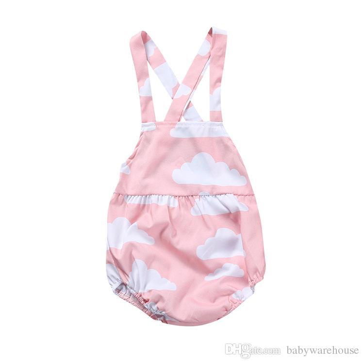 41e3d71f7 2019 Summer Newborn Baby Girl Clothes Cloud Printed Pink Romper ...