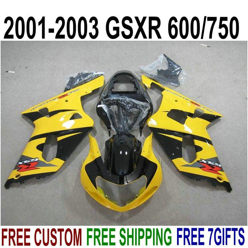 7 presentes bodykits para SUZUKI GSX-R600 GSX-R750 01 02 03 kit de carenagem K1 GSXR600 / 750 2001-2003 carenagens preto amarelo conjunto XA78