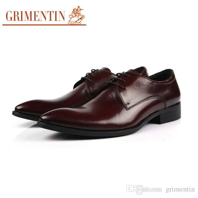 1f4433bd574a87 Acheter Grimentin Marque Italienne De Mode Hommes D'affaires En Cuir  Chaussures Casual 2018 Luxe Noir Marron Chaussures Homme Bureau De Mariage  Taille: 38 ...