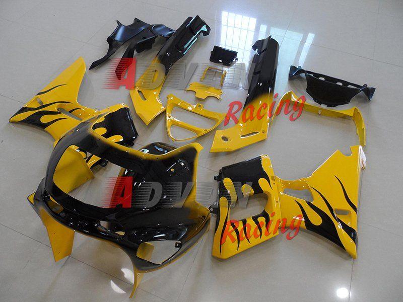 Yellow Black Fairing Bodywork Plastic Kit Set Kawasaki ZZR400 ZZR 1995-2003 4