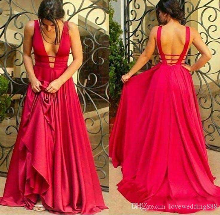 2017 Newest Deep-V-Neck Red Prom Dresses Sexy Open-Back Floor Length Cheap Evening Wear Formal Party Gown