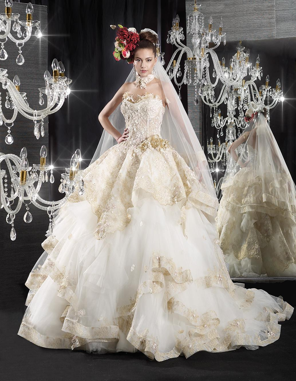 Delsa 2015 Jean Le Roi Wedding Dresses Ball Gown Tiered