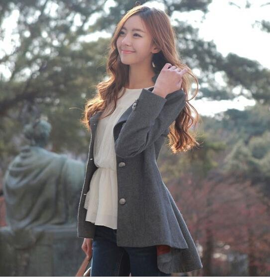 Hot sale 2015 Winter Coats for Women Korean Long-Sleeved Solid Button Dovetail Wool Coat Outerwear Winter Womens Coats for Winter