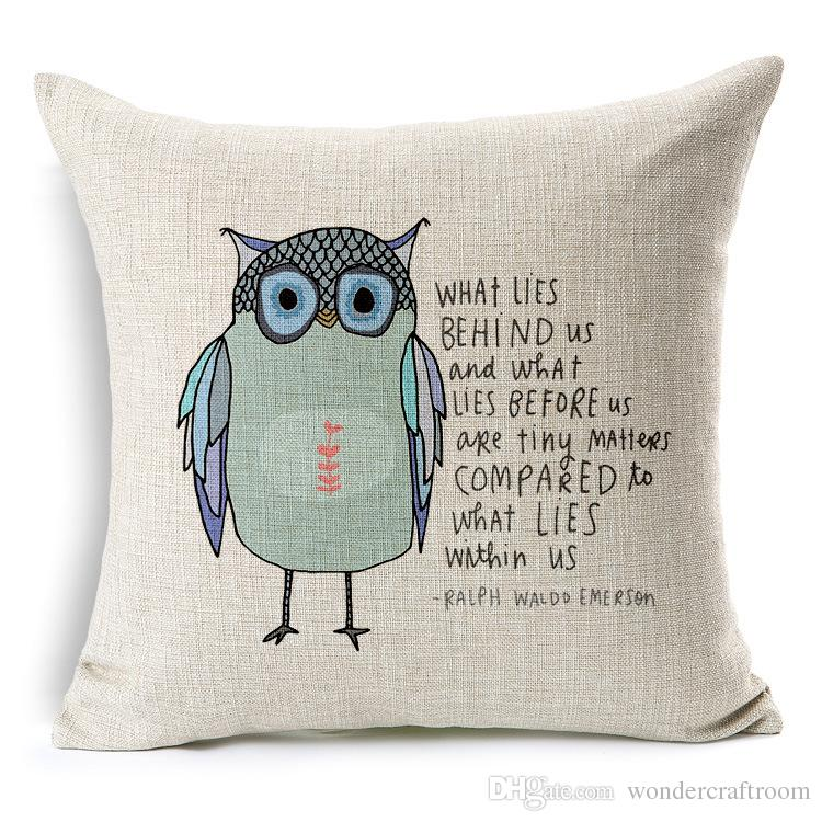 Gloomy Owls Series Cushion Cover Hand Painting Bird Owl Floral Flower Tree Leaf Pillow Case Decorative Linen Cotton Cushions Pillows Covers