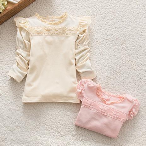 Le nuove ragazze autunno magliette della principessa pizzo soffio del collare maniche lunghe capretti supera di stile coreano del tutto-fiammifero bambini top kid abbigliamento A7380