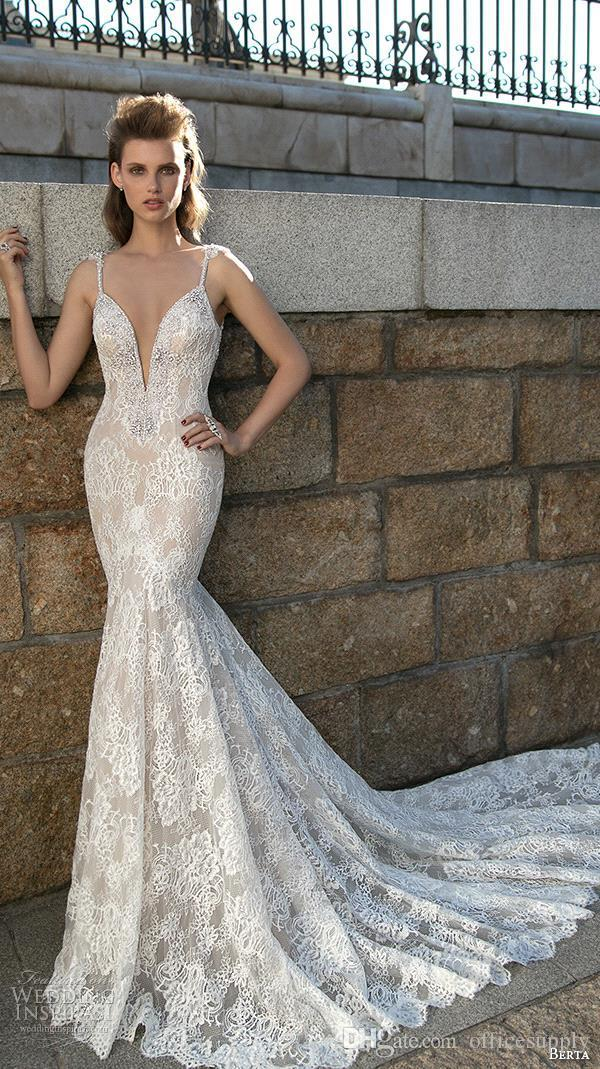 Berta Bridal 2017 Stunning Mermaid Lace Wedding Dresses Sexy Spaghetti Straps Crystal Fitted Backless Court Train Bridal Gowns