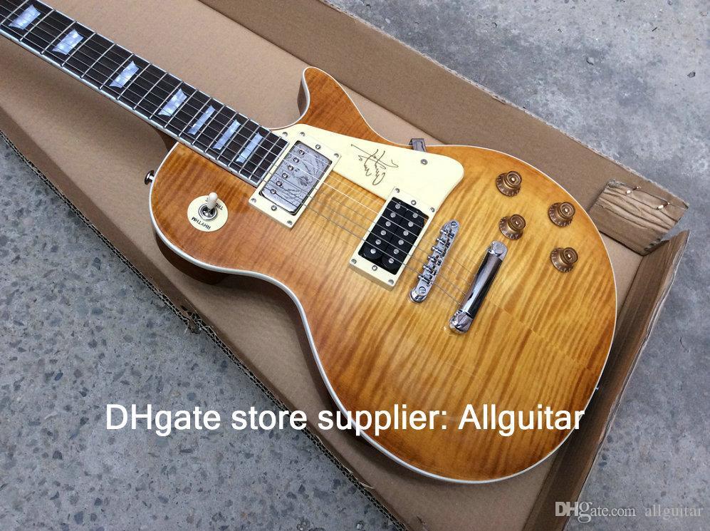 Chine Jimmy Page Guitar VOS 1959 One Piece Cou droit col flamboyant Citron Éclaté Burst Honey Burst Nitrocellulose Acajou Corps Guitares Chinoises