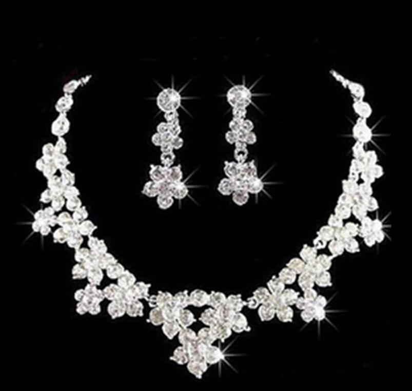 Wedding Jewelry Shining New Cheap Rhinestone Bridal Jewelery Accessories Crystals Necklace and Earrings for Prom Pageant Party