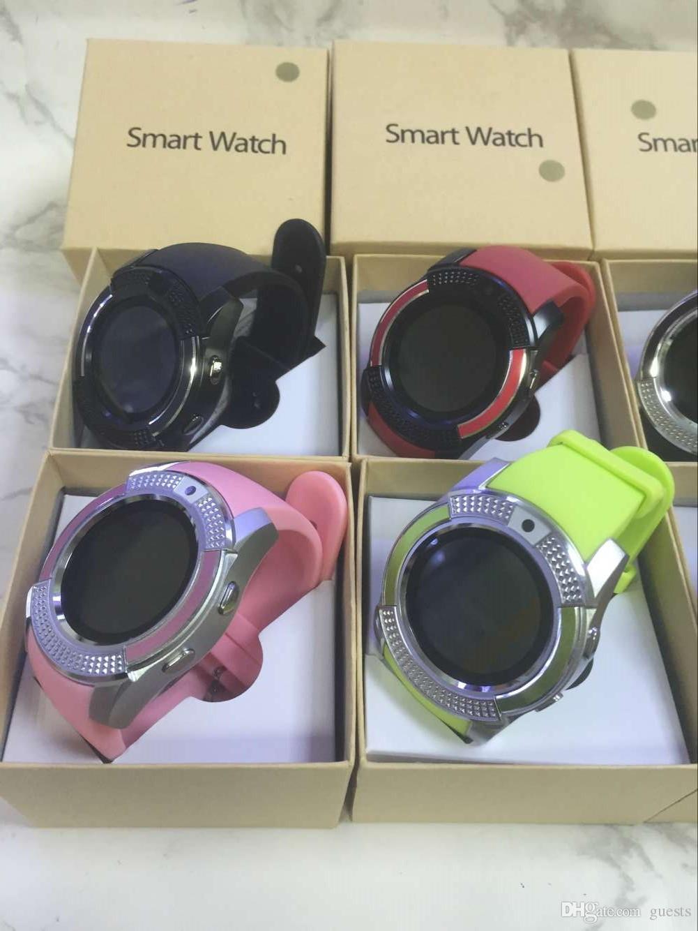 Intelligente Uhren V8 Bluetooth Uhren Android mit 0.3M Kamera MTK6261D DZ09 GT08 Smartwatch für Android-Telefon mit Kleinpaket kostenlos DHL