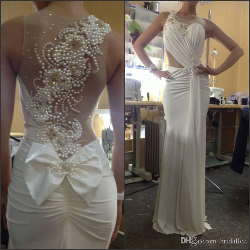 Abiti da sposa vintage con trasparente bianco chiffon bianco senza schienale Treno lungo sirena nuovo elegante abito da sposa