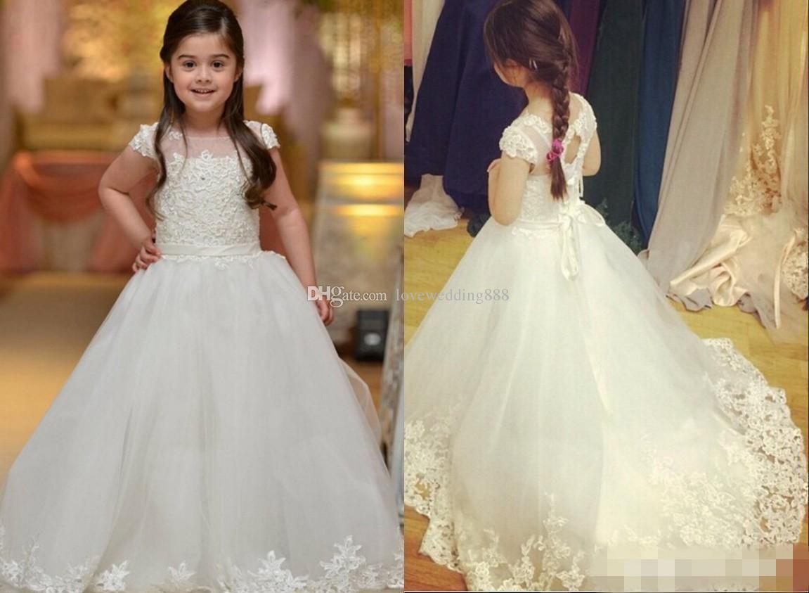Vestidos Da Menina de flor Para Casamentos Com Tampado Sheer Pescoço Apliques de Renda Queque Pageant Vestido Para Meninas Longas Contas Vestidos de Festa de Casamento Meninas
