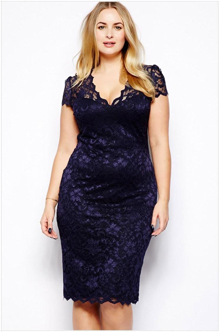 Großhandel Womens Kleidung Damen Blue Lace Verschiebung Bleistift ...