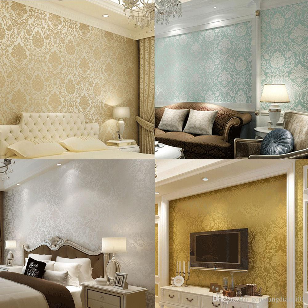 wall paper wallpaper roll damask non woven embossed textured bedroom