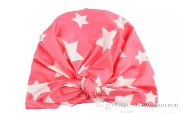 INS Bebek Yay Şapka Bunny Kulak Kapaklar Avrupa Tarzı Turban Knot Başkanı Sarar Şapkalar 10 Renkler Bebek Hindistan Şapka Çocuklar Kış ...