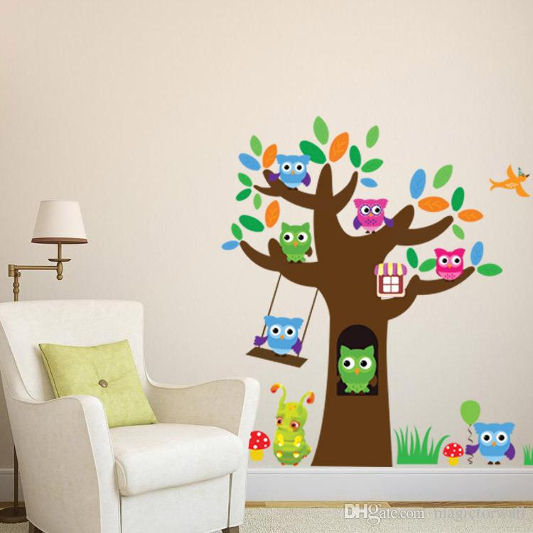Owls Tree Wall Sticker Decal Lovely Sugar Baby Wall Art Mural Decor Kids Room Wall Border Decoration Wallpaper Graphic Wall Applique Poster