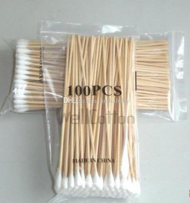 Tamponi medici all'ingrosso 100pcs / set 6 '' Manico in legno extra lungo Robusto applicatore in cotone Tampone Q-tip Hotting