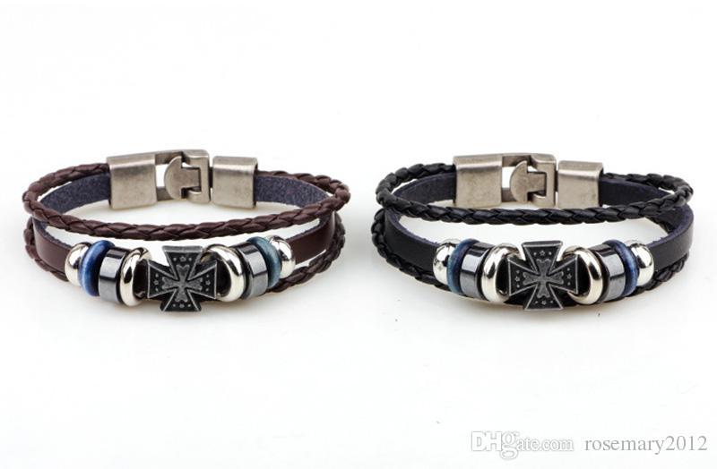 Hand-Woven Retro Croix Main Bracelets Simple Bracelet En Cuir Tressé pour Femmes Hommes Main Chaînes Bracelet Dames Bracelet Bijoux En Gros
