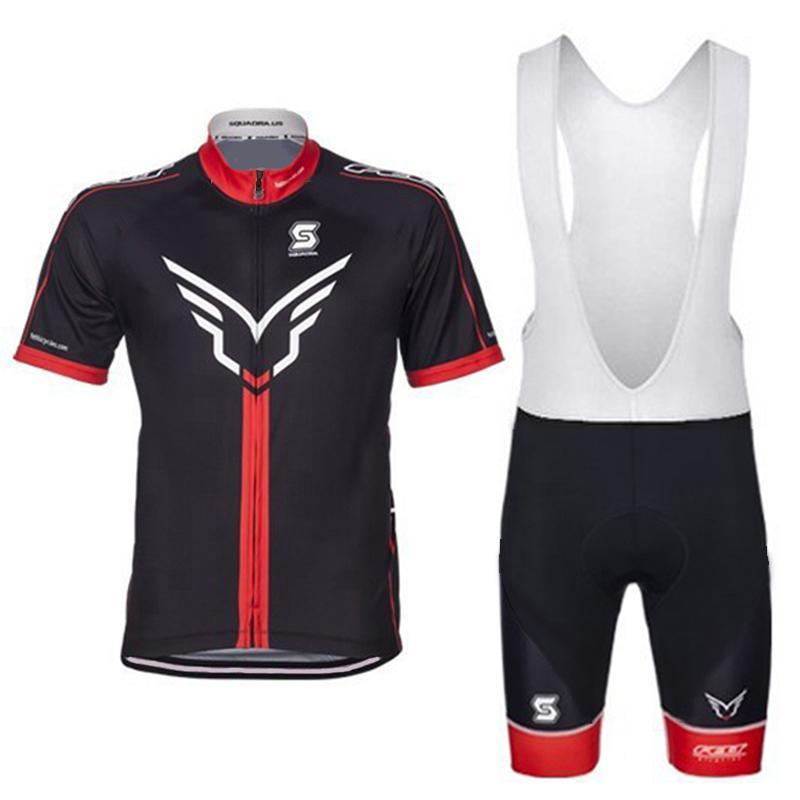 Set di abbigliamento manica corta da ciclismo bici Bicicletta da uomo a secco rapido Indossare tuta Salopette in jersey Nero e rosso