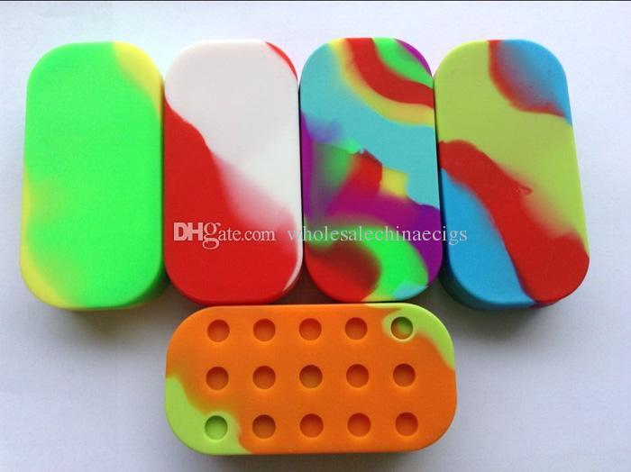 6 + 1 pots Dab Silicone Container cire de silicium caisse de boîte Pour atomiseur vaporisateur E Cigarette Oil Box Réutilisable Silicone Wax Box Contenants De Cire