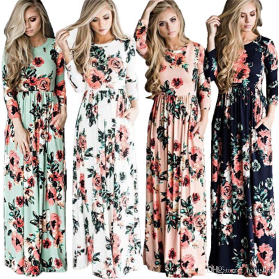 17329df91f64f Autumn Winter Women Long sleeve Floral Print Maxi Long Dress Plus size  Clothing vestidos XD-012