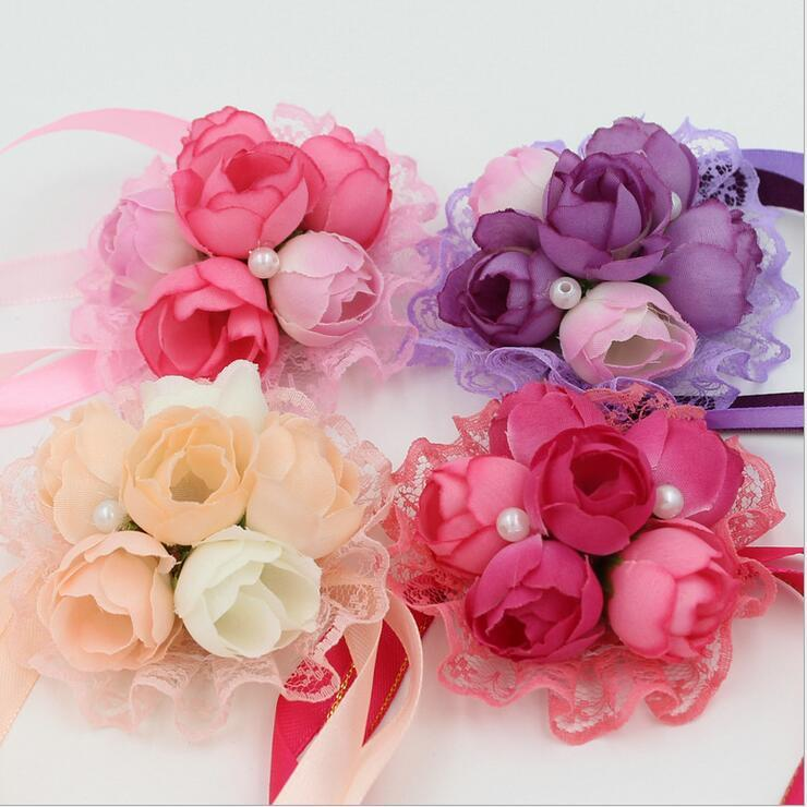 Beautiful Pink Red Champagne Purple Flower Corsage With Brooch Pin For Wedding Bridal Groom Supplies Retail and WholesaleBF02