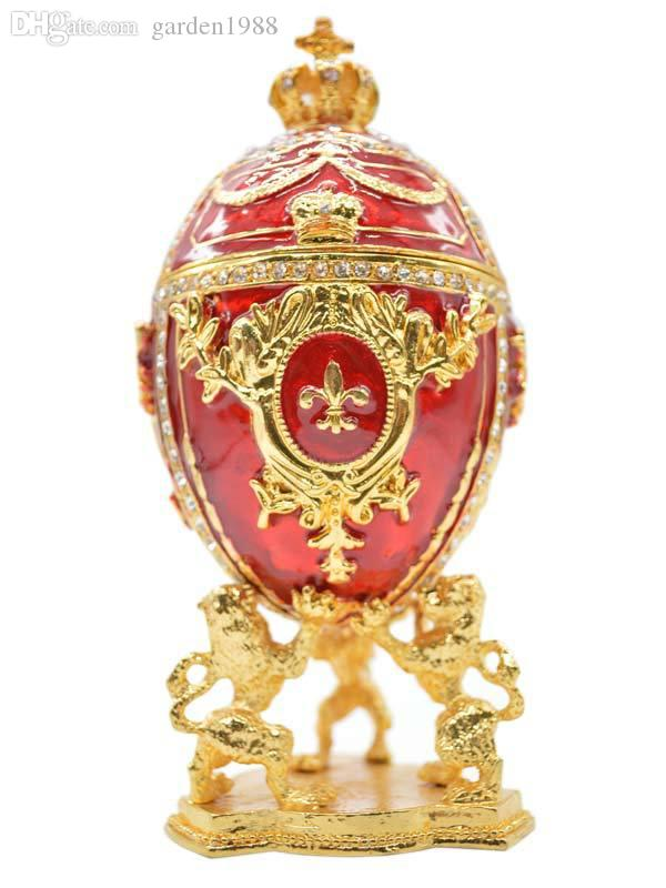 2019 Large Royal Red Imperial Russian Faberge Egg Enameled