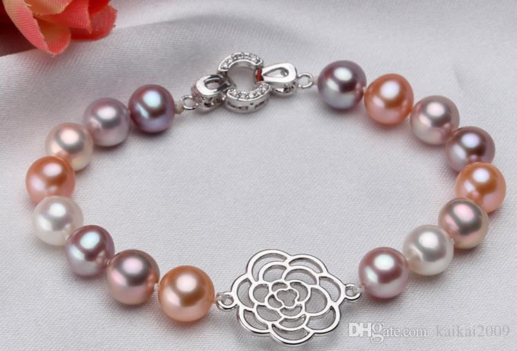 Оптовая жемчужные ювелирные изделия аксессуары натуральный жемчуг ожерелье браслет 925 серебряный Омар застежка YPJ 78