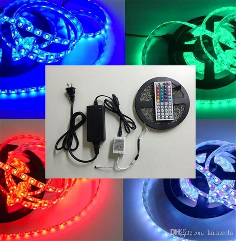 Las tiras impermeables IP65 5M 300 LED SMD 5050 RGB Luces Led tiras 60 LED M + controlador + fuente de alimentación de 12V 5A a distancia con la UE AU Reino Unido Estados Unidos SW