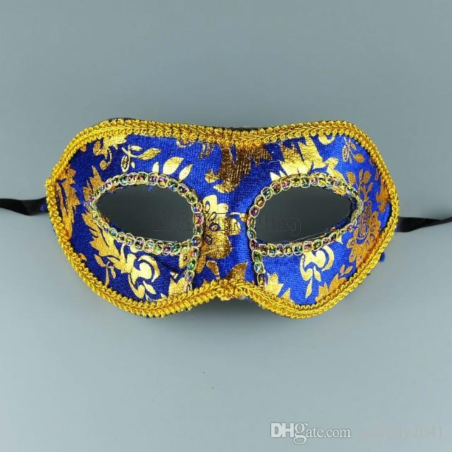 Cheap Masquerade Mask Gold Face With Border Mask Unisex Design Half Face Costume Ball Eye Mask Free Ship