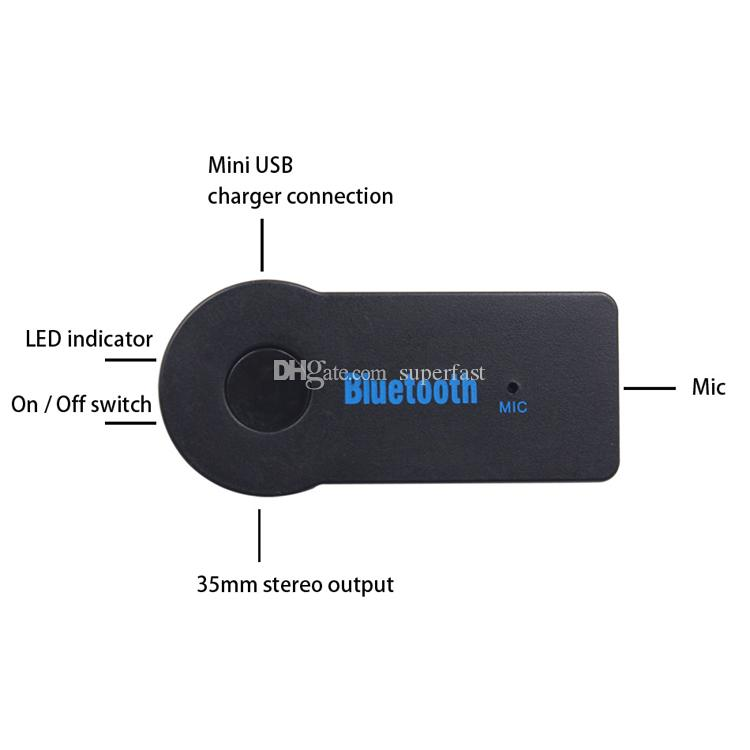 Bluetooth Car Adapter Receptor 3,5 milímetros Aux estéreo sem fio USB Mini Bluetooth Áudio Música Receiver Para Smart MP3 Telefone Com pacote de varejo