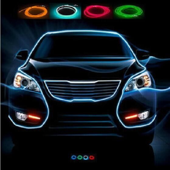 Car Accessories Interior Flexible Neon Atmosphere Lamp El Glow Wire Rope Lights With Cigarette