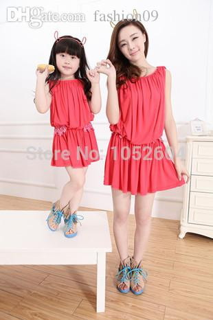 ebd3b171d7ee Wholesale 2015 New Arrival Mother Daughter Matching Dresses Princess Girls  And Mom Red Clothing Family Matching Outfits Dress Fashion MB04 Creepy  Family ...