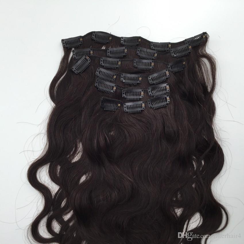 Clip de onda de cuerpo brasileño sin procesar en extensiones de cabello humano, clip 1B en el cabello 7 piezas de cabeza completa, clip de cabello ondulado brasileño ins