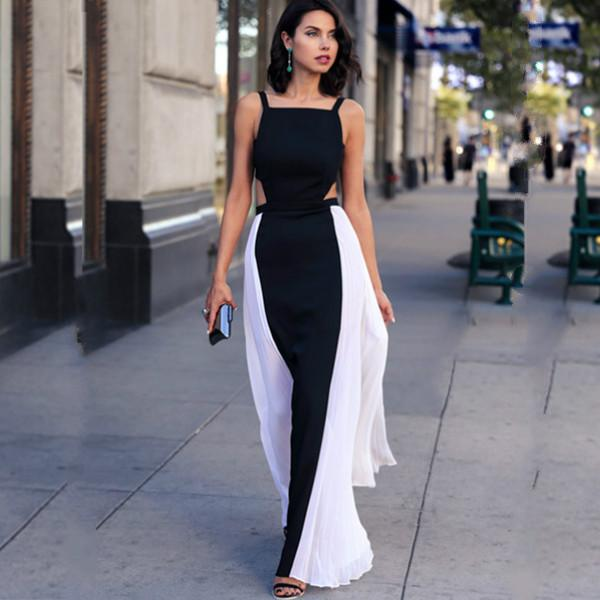 2016 Summer Style Black And White Maxi Dress Women Dress Casual