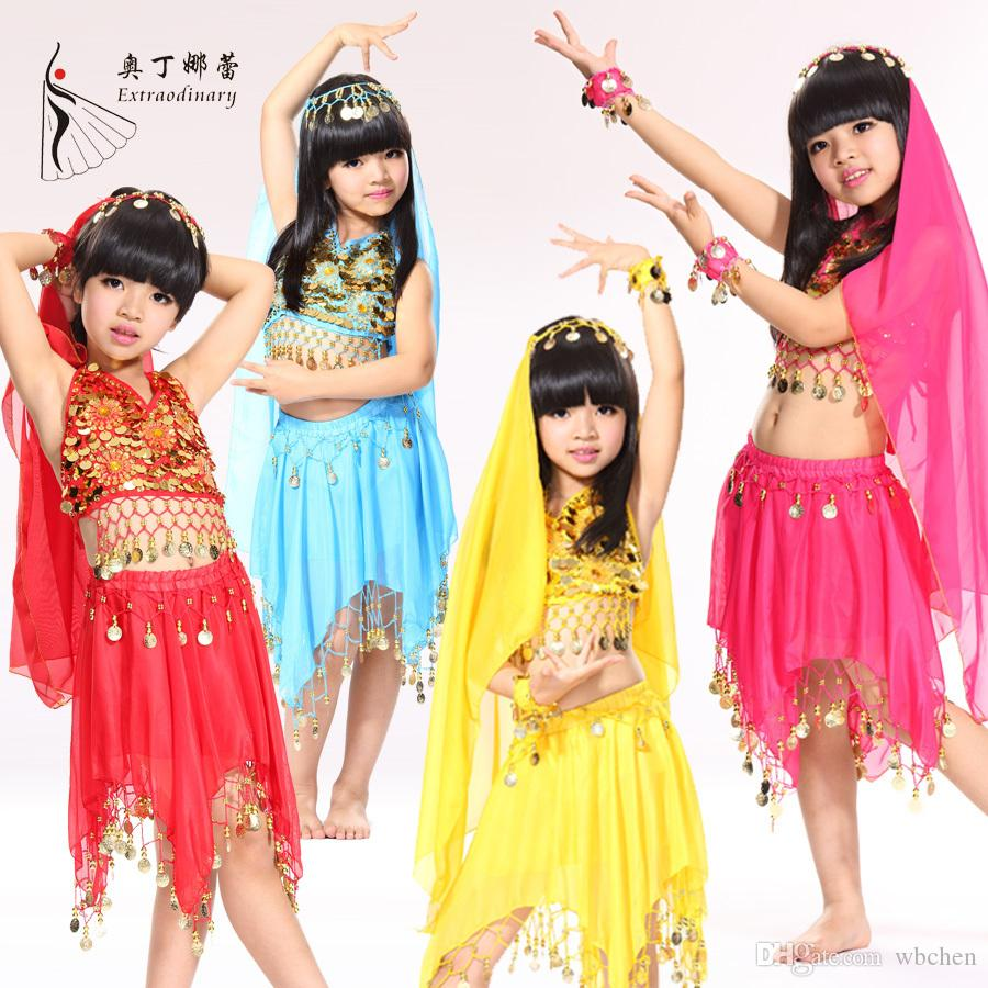 8304ff1118940 5Pieces Headwear&Top&Skirt&2 Handwear Kids Bollywood Indian Dress Belly  Dance Costumes Performing Girls Professional For Children
