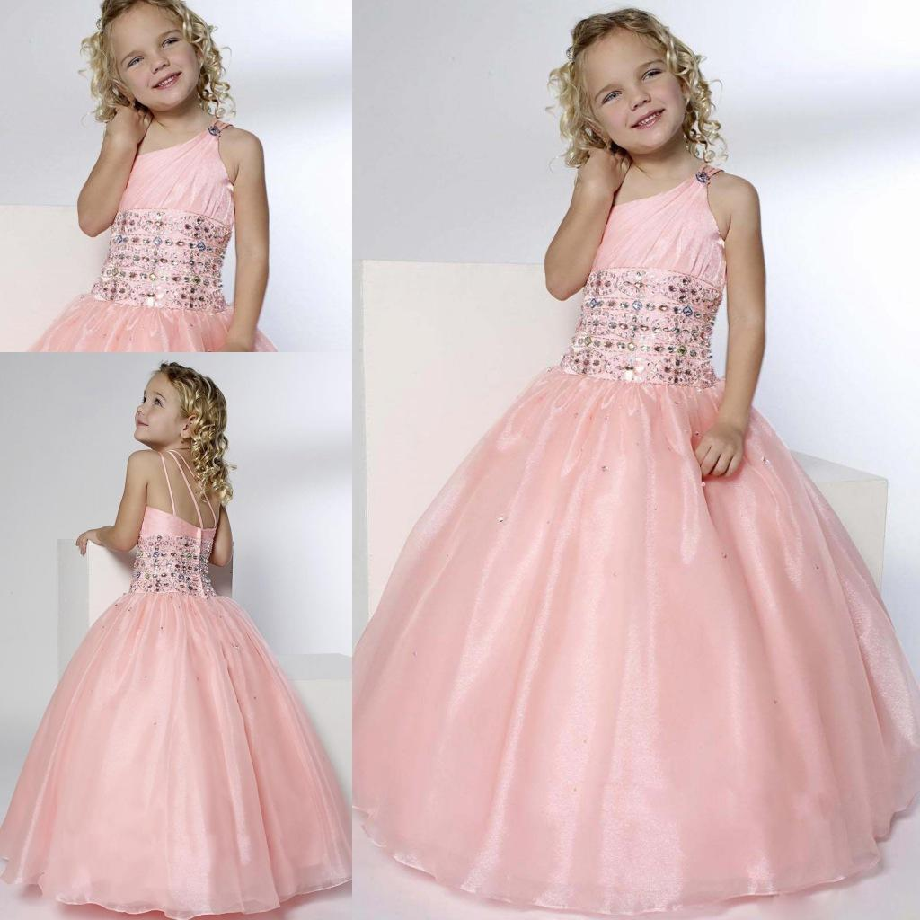 32b512fab0e 2015 Pink Princess Flower Girl Dresses For Weddings One Shoulder Beads Ball Gown  Floor Length Lovely Cheap Girls Pageant Child Party Gowns Flower Dress Girl  ...
