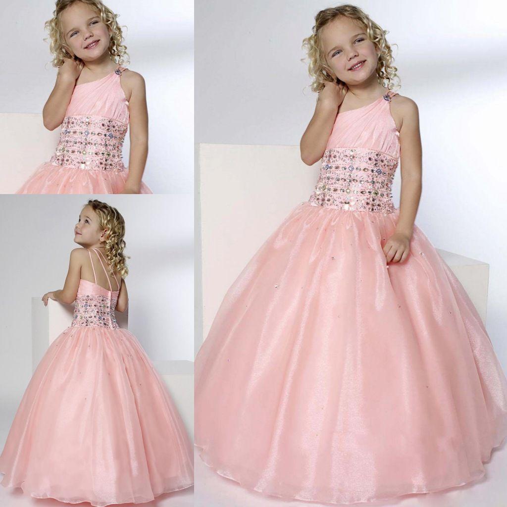 2015 Pink Princess Flower Girl Dresses For Weddings One Shoulder
