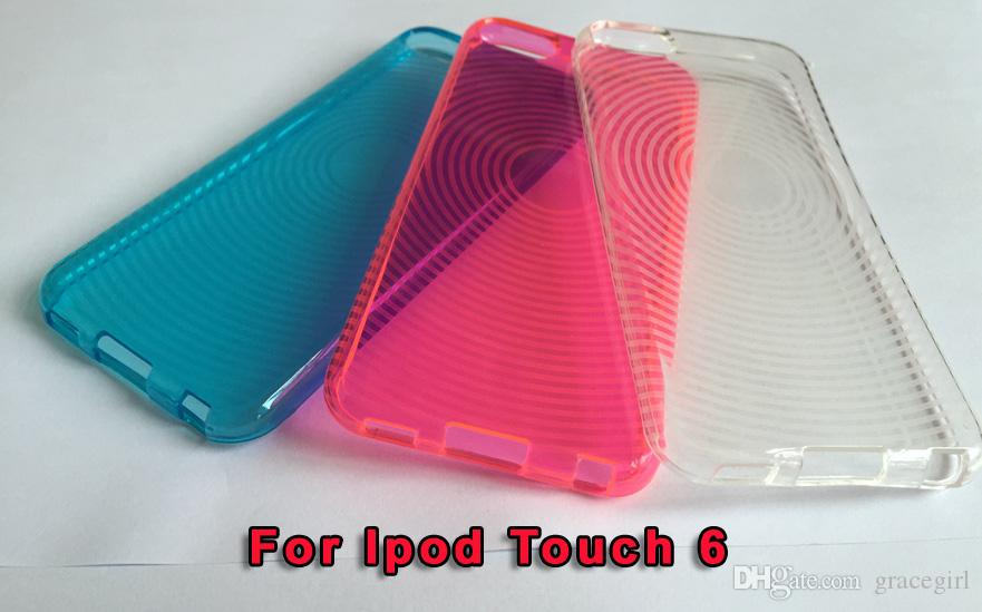 For Apple Ipod Touch 6 6th Itouch6 S Line Fingerprint Circle Soft TPU Silicone Gel Case Clear Crystal Rubber Colorful skin Cover