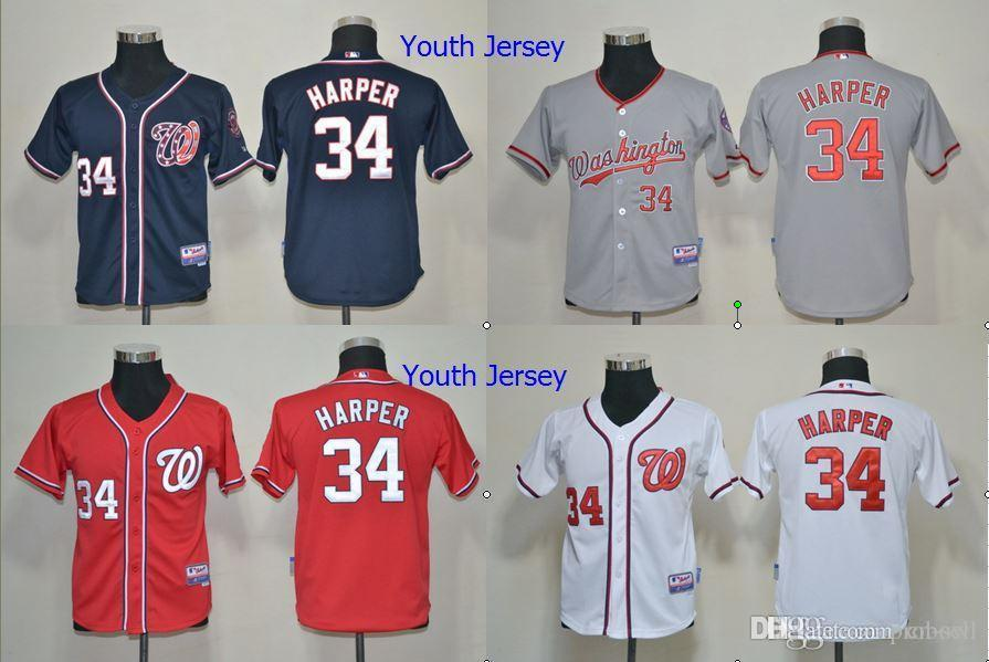 8bbc288d971 ... 2017 2015 new youth bryce harper washington nationals jersey cheap kids  34 bryce harper whitegrayredblue cool